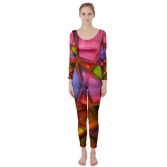 Imposant Abstract Red Long Sleeve Catsuit