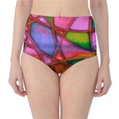Imposant Abstract Red High-Waist Bikini Bottoms