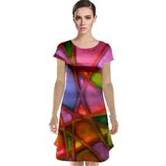 Imposant Abstract Red Cap Sleeve Nightdresses