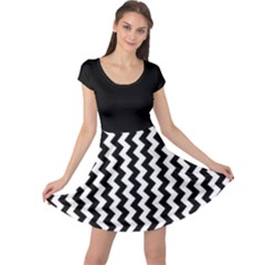 Black and White Chevron Cap Sleeve Dresses