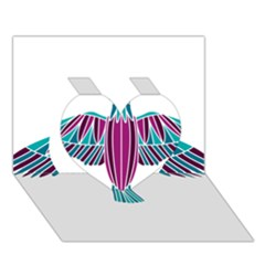 Stained Glass Bird Illustration  Heart 3d Greeting Card (7x5)