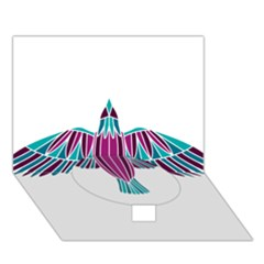 Stained Glass Bird Illustration  Circle Bottom 3d Greeting Card (7x5)