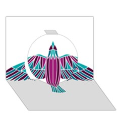 Stained Glass Bird Illustration  Circle 3D Greeting Card (7x5)