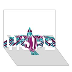Stained Glass Bird Illustration  HOPE 3D Greeting Card (7x5)