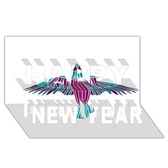 Stained Glass Bird Illustration  Happy New Year 3D Greeting Card (8x4)