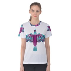 Stained Glass Bird Illustration  Women s Cotton Tees