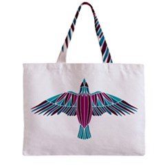 Stained Glass Bird Illustration  Zipper Tiny Tote Bags