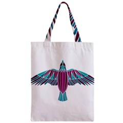 Stained Glass Bird Illustration  Zipper Classic Tote Bags