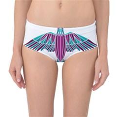 Stained Glass Bird Illustration  Mid Waist Bikini Bottoms