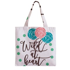 Wild At Heart Flowers Zipper Grocery Tote Bags