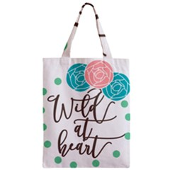 Wild At Heart Flowers Zipper Classic Tote Bags