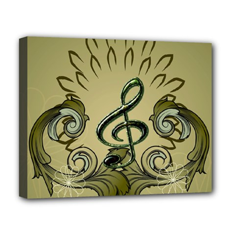 Decorative Clef With Damask In Soft Green Deluxe Canvas 20  x 16
