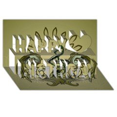 Decorative Clef With Damask In Soft Green Happy Birthday 3d Greeting Card (8x4)