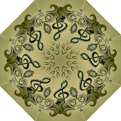 Decorative Clef With Damask In Soft Green Hook Handle Umbrellas (Large)