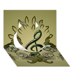 Decorative Clef With Damask In Soft Green Heart 3d Greeting Card (7x5)