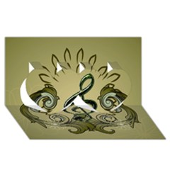 Decorative Clef With Damask In Soft Green Twin Hearts 3d Greeting Card (8x4)