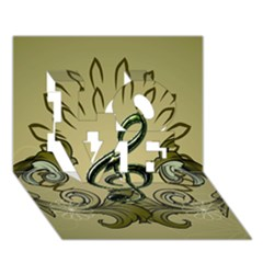 Decorative Clef With Damask In Soft Green Love 3d Greeting Card (7x5)