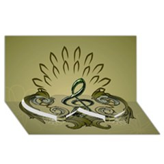 Decorative Clef With Damask In Soft Green Twin Heart Bottom 3D Greeting Card (8x4)