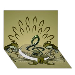 Decorative Clef With Damask In Soft Green Circle Bottom 3d Greeting Card (7x5)