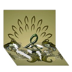 Decorative Clef With Damask In Soft Green Love Bottom 3d Greeting Card (7x5)