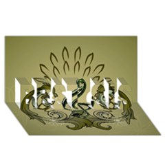 Decorative Clef With Damask In Soft Green BEST SIS 3D Greeting Card (8x4)