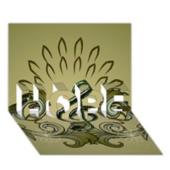 Decorative Clef With Damask In Soft Green Hope 3d Greeting Card (7x5)