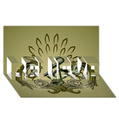 Decorative Clef With Damask In Soft Green BELIEVE 3D Greeting Card (8x4)