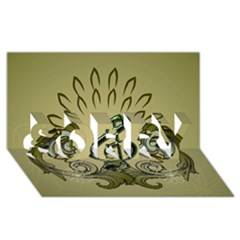 Decorative Clef With Damask In Soft Green SORRY 3D Greeting Card (8x4)