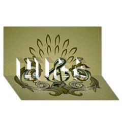 Decorative Clef With Damask In Soft Green HUGS 3D Greeting Card (8x4)