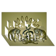 Decorative Clef With Damask In Soft Green Best Wish 3D Greeting Card (8x4)