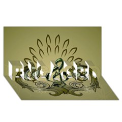 Decorative Clef With Damask In Soft Green ENGAGED 3D Greeting Card (8x4)