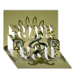 Decorative Clef With Damask In Soft Green THANK YOU 3D Greeting Card (7x5)