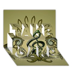Decorative Clef With Damask In Soft Green TAKE CARE 3D Greeting Card (7x5)