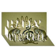 Decorative Clef With Damask In Soft Green Happy New Year 3D Greeting Card (8x4)
