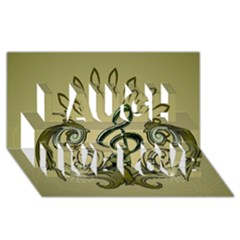 Decorative Clef With Damask In Soft Green Laugh Live Love 3D Greeting Card (8x4)
