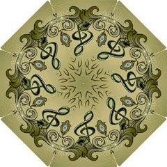 Decorative Clef With Damask In Soft Green Hook Handle Umbrellas (Small)