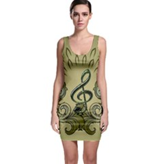 Decorative Clef With Damask In Soft Green Bodycon Dresses
