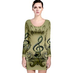 Decorative Clef With Damask In Soft Green Long Sleeve Bodycon Dresses