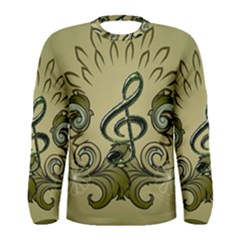 Decorative Clef With Damask In Soft Green Men s Long Sleeve T-shirts