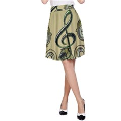 Decorative Clef With Damask In Soft Green A-Line Skirts