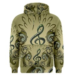 Decorative Clef With Damask In Soft Green Men s Pullover Hoodies