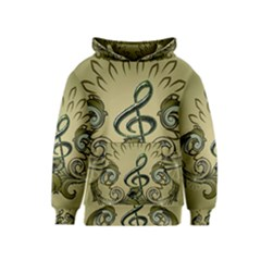 Decorative Clef With Damask In Soft Green Kid s Pullover Hoodies