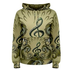 Decorative Clef With Damask In Soft Green Women s Pullover Hoodies