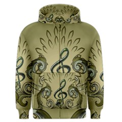 Decorative Clef With Damask In Soft Green Men s Zipper Hoodies