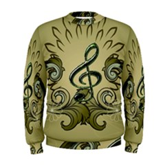 Decorative Clef With Damask In Soft Green Men s Sweatshirts