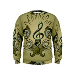 Decorative Clef With Damask In Soft Green Boys  Sweatshirts