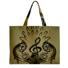 Decorative Clef With Damask In Soft Green Zipper Tiny Tote Bags