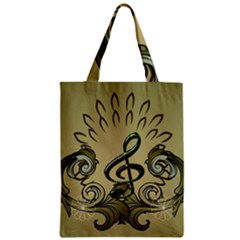 Decorative Clef With Damask In Soft Green Zipper Classic Tote Bags