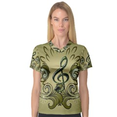 Decorative Clef With Damask In Soft Green Women s V-Neck Sport Mesh Tee