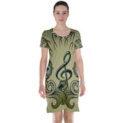 Decorative Clef With Damask In Soft Green Short Sleeve Nightdresses